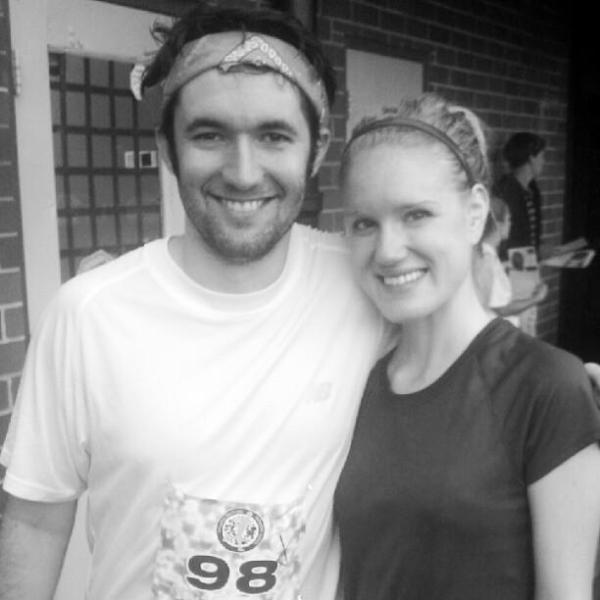 At the finish line of the Atlanta Beltline 5K. Exhausted but happy.