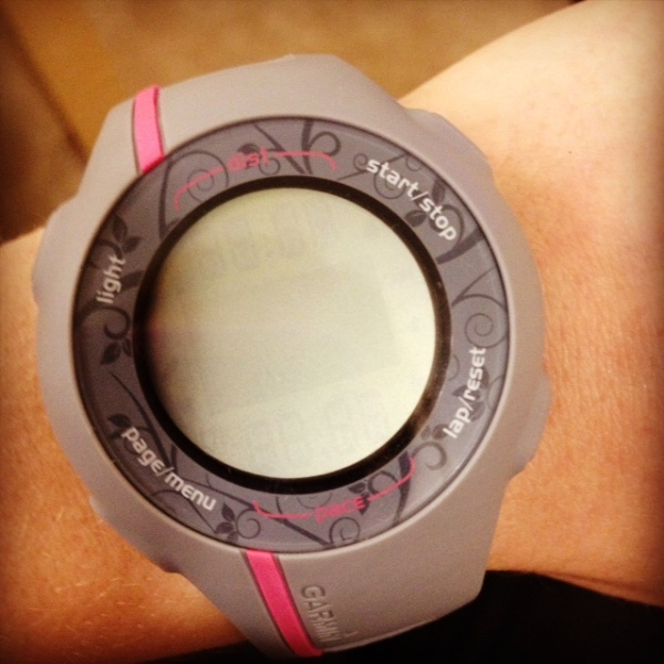 My Garmin Forerunner watch...so now I don't have to guesstimate my time or how far I've run.