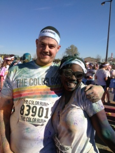 Jhana and Jacob all color-riffic after the race.