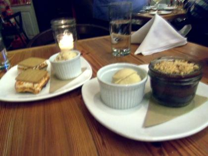 Homemade s'mores with cherry cordial ice cream, and chocolate truffle cake with black pepper ice cream.